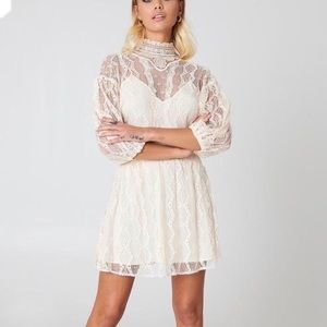 Free People Bittersweet Mini Lace Dress in Cream
